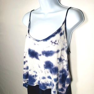 Tie Dye Tank Top Blue and White V Neck Size Large